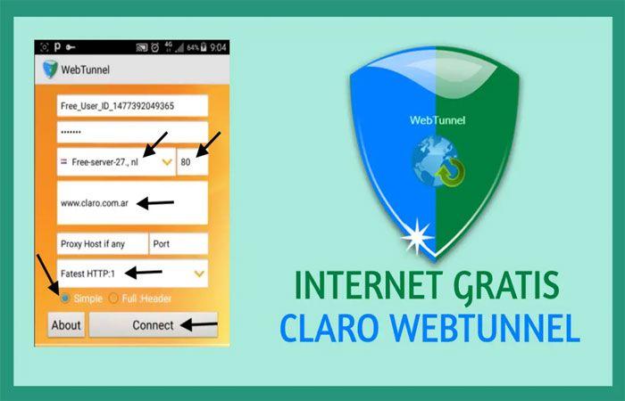 Configuración Claro Colombia Webtunnel 2020: Internet gratis