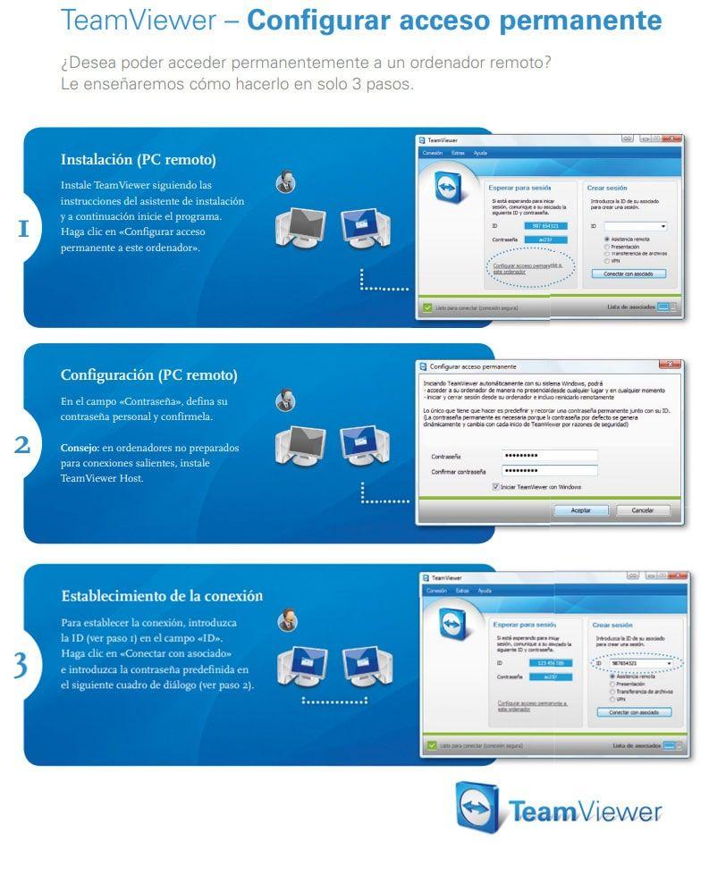 pasos configurar el acceso permanente en TeamViewer