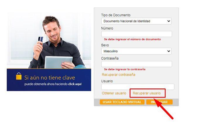 visa home recuperar usuario y clave